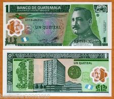 GUATEMALA 1 QUETZAL POLYMER UNC LATEST ISSUE NEW DESIGN # 968