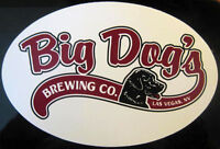 BIG DOG'S BREWING CO., 4 x 6 inch Beer STICKER, Label with DOG, Las Vegas NEVADA