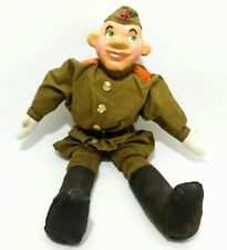 Rare Vint Ussr Soviet Army Hand Painted Paper Mache Defender Doll W/Wool Uniform