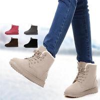 Mujer Martin Botas Nieve Forrado Piel Algodón Tobillo Botine Zapatos Invierno