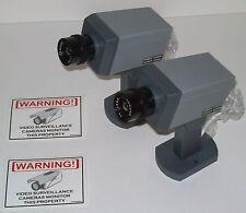 Lot of 2 Security Fake Camera Surveillance Cams +LED NR