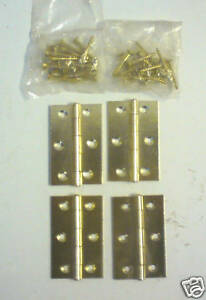 BRASS EFFECT HINGES. SET OF 4 WITH SCREWS