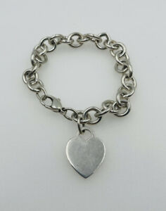 Tiffany & Co Authentic Sterling Silver Heart Charm Bracelet
