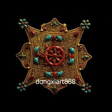 Tibet pure copper gold octagonal inlay turquoise niche for Buddha shrine pendant