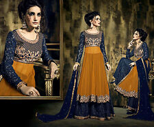 YELLOW-BLUE NET ANARKALI SALWAR KAMEEZ SUIT PARTY DRESS MATERIAL EMBR LADIES DEN