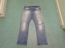 "Blood & Glitter Straight Waist 34"" Leg 32"" Faded Medium Blue Mens Jeans"