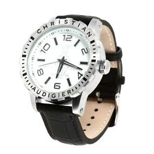 Christian Audigier Leather Stainless Steel White Dial Watch (SWI-665)
