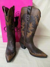 """Women's 9M Corky's Brown & Tan """"Cisco"""" Western Boots Bronze Rivet Decor 14""""Tall"""