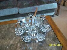 Dorothy Thorpe Silver Rim 16 Piece Punch Bowl Roly Poly Glasses, Caddy & Ladle