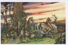 Carte postale Rencontres Cavalière suivie par des gnomes en forêt