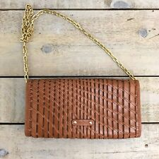 COLE HAAN Woven Leather Clutch Convertible Bag Gold Chain Strap British Tan