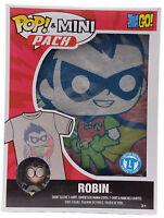 New Funko Pop & Mini Pack Teen Titans Go Robin Size Large T-Shirt & Mini Pop