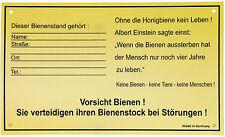 Schild für Bienenstand, Dr. Liebig, Standort, Bienen, Imker, Namenschild Stechen