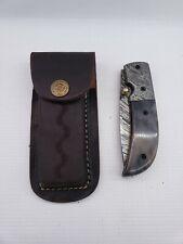Damascus Folding Knife With Leather Sheath, Oklahoma State Button
