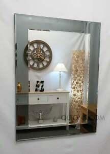 John Lewis Marietta Wall Mirror Grey / Smoked Glass Frame Bevelled 2 Layers