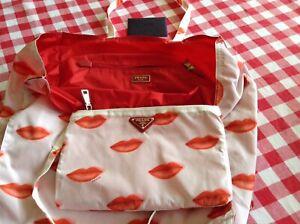Prada Nylon Tote With Makeup Bag , Lips