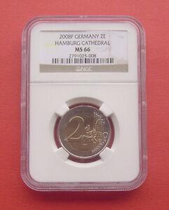 Germany 2008 F Hamburg 2 Euro Bi-metallic Coin NGC MS66 old map style on reverse