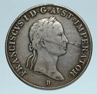 1835 B AUSTRIA Emperor Franz II Hapsburg Genuine Silver 20 Kreuzer Coin i83301
