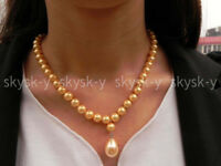 """Charming 8/10mm Yellow South Sea Shell Pearl Drop Pendant Necklace 18"""" AAA+"""