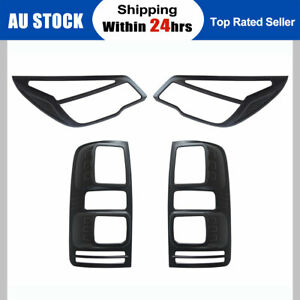Black Headlight Taillight Surrounds Lamp Covers for Holden Colorado RG 2012-2015