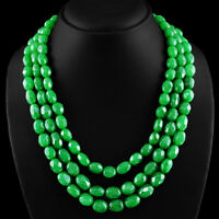810.00 CTS EARTH MINED RICH GREEN EMERALD 3 STRAND OVAL FACETED BEADS NECKLACE