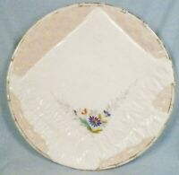 Antique Luncheon Plate Blue Flowers on Pink Napkin Victorian Porcelain A Beauty