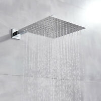 8 Inch Rainfall Shower Head Solid Square Ultra Thin Chrome Top Sprayer  with Arm