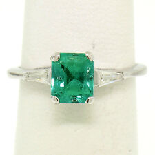 14K White Gold 1.29ctw Radiant Cut Emerald Solitaire Ring w/ 2 Diamond Accents