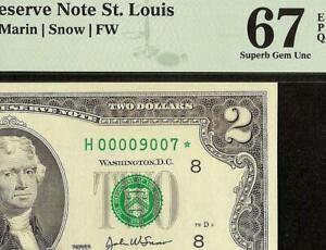 GEM 2003 $2 TWO DOLLAR LOW PRINT 9007 STAR NOTE MONEY 16K ISSUED PMG 67 TOP POP