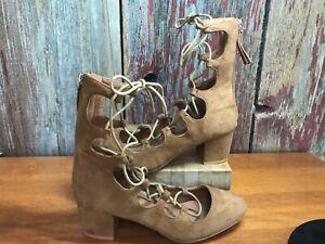 bucco capensis open lace up chunky heel zipper shoe. faux suede brown womens 6.5