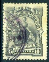 Nicaragua 1891 Seebeck Goddess of Plenty 10¢ VFU D234 ⭐⭐⭐⭐⭐⭐