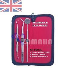 Pro Set Dental Dentist Scalers Tweezer Instruments pick tool set PU Leather Case