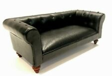 New Dolls House Miniature 1/12 Scale Black Chesterfield Sofa #627