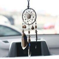 Dream Beaded Catcher Car Wall Hanging Bead Ornament Feathers Mini Decor Black