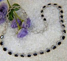 """RUNWAY 25-7 mm Sapphire Topaz 0.925 Sterling Silver 20"""" x 1/4"""" Estate Necklace"""