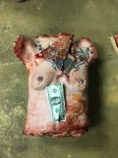 Screen used DECAPITATED GRUESOME HUMAN TORSO. WIth Tattoo. Latex foam. GORY.