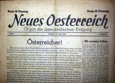 """Erste Ausgabe der Nachkriegszeitung """"Neues Österreich"""", 23.4.1945"""