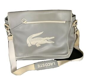 Lacoste Men Leather Messenger Bag Light Grey And White