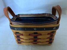 2003 Longaberger Collectors Club Salt and Pepper Basket Combo Patriotic Liner Pp