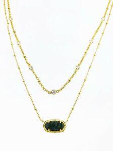 NEW KENDRA SCOTT Gold 382 Elisa Multi Strand Green Apatite Pendant Necklace