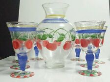 8) Hand Blown Handpainted GABBAY by Gibson CHERRIES Water GOBLETS + CARAFE Vase