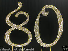 Gold  Rhinestone  NUMBER (80) Cake Topper 80th Birthday Party Anniversary