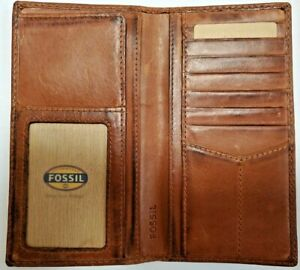 FOSSIL Mens Leather Carson Secretary Wallet Dark Brown ML3217200