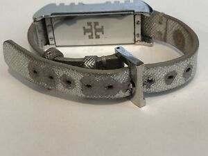 Tory Burch for Fitbit Flex Silver Double Wrap Around Leather Band