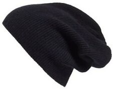 Halogen Slouchy Ribbed 100% Cashmere Beanie Black NEW Retail $45.00