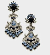 "2.75"" Navy Blue Long Rhinestone Crystal Pageant Dangle Drop Pierced Earrings"