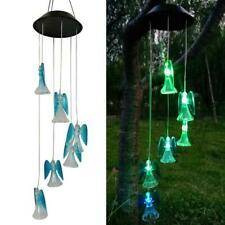 Led Color-Changing Power Solar Wind Chimes Yard Home Garden Decor Angel