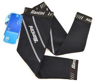 Santini SMS Thermofleece H2O Cycling Arm Warmers Men XS Black Road Bike Mountain