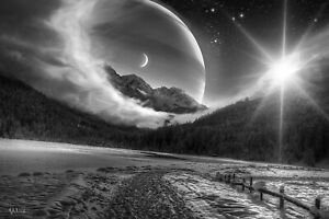 Fantasy World Moon - Black And White Landscape Wall Art Poster & Canvas Pictures