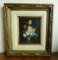 "Vintage Ruggeri Framed Still Life Oil Painting Green Gold Wood Frame 16"" X 18"""